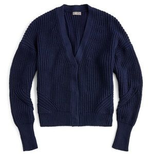 J. Crew Point Sur Ribbed Navy Cardigan Sweater